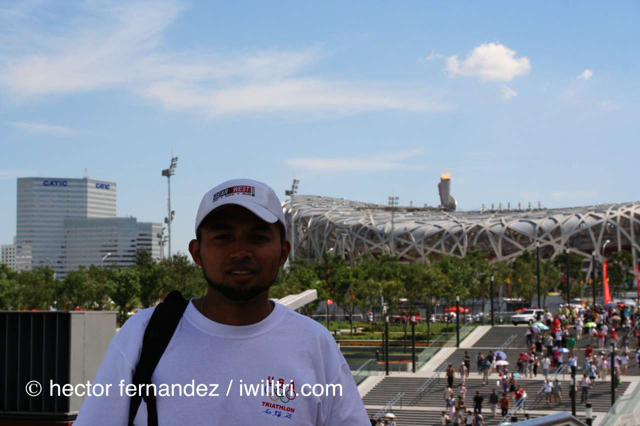 Hector in front of Bird's Nest National Stadium at Beijing Olympics